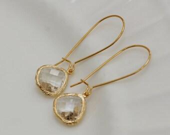 Twinkle Drops. Gold Earrings,Diamond,Diamond Earrings,Gold Earrings, Gold Faceted Earring,Wedding,Bridal, Bridesmaid Gift