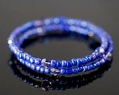 Bracelet Memory Wire Beaded Royal Blue