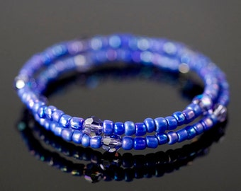 Bracelet Memory Wire Beaded Royal Blue
