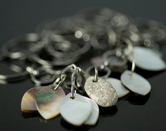 Beach stone and shell necklace, gray, gun metal chain