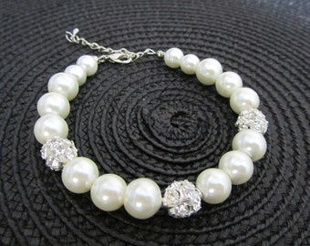 Ivory pearl bracelet with rhinestones - Bridal bracelet - Bridesmaid bracelet - bridal under 25