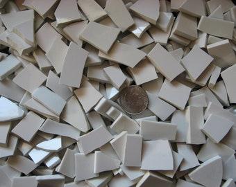 White Filler Mosaic Broken Dish Tiles - 2 Quarts