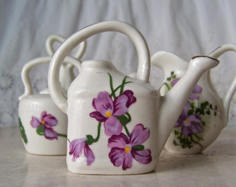 Vintage Miniature China Collection Dollhouse Miniatures Swan Tea Pot Lavender Flowers Pitcher Water Can Bell 1960s
