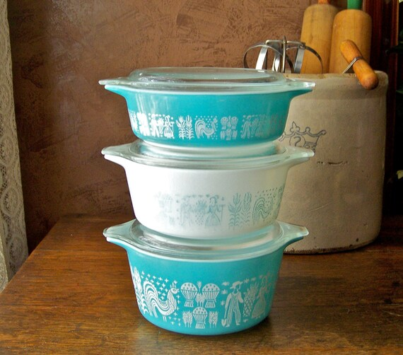 Turquoise Butter Print Stacking Casserole Bowls RESERVED