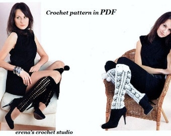 Two Crochet Beautiful Pattern Barefoot Leg warmer accessory available in Pdf file.