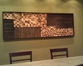 """72"""" x 24"""" HUGE Wood Mosaic Wall Art or Headboard"""