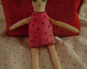 Handmade and Handpainted cloth/fabric art doll by a Pink Dreamer