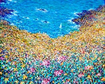 Paradise Cove, original oil painting by Surin, 30x30