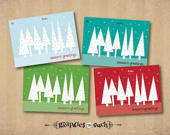PRINTABLE Christmas Gift Tags - L001 Winter Christmas Trees