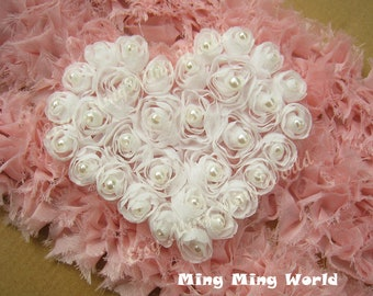 Hand Made Sew Pearl Rose Heart - 2 PCS White Chiffon Rose  Applique Trim (C19)