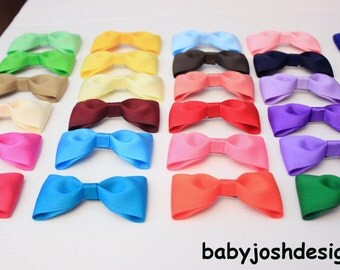 One Dollar Hair bows, 1.00 Dollar bows set of 10 -  ,basic hair bows - , toddler , girls hairbows ,baby Hair Bows / - You can choose colors
