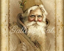 Old World Santa Digital Collage Sheet Instant Download for Gift Tags Scrapbooking Mini Album Cards Paper Crafts Altered Art GalleryCat CS166