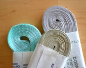 Vintage satin ribbons, double-sided - aqua green, light green, grey - 30 meters