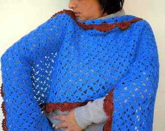 Elizabeth Wrap Scarf Blue and Brown mixed  Wool Scarf Crocheted Shoulder Wrap Woman Scarf NEW