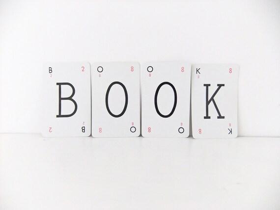 BOOK - alphabet cards - letter cards spelling BOOK