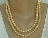 Double-Strand Glass Pearl Necklace Hand-Knotted Fancy Clasp Vintage Signed Japan Wedding Jewelry