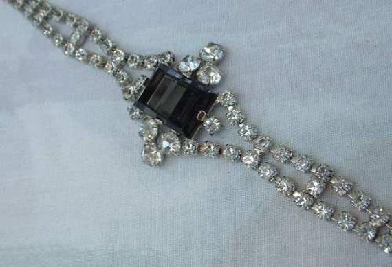 Art Deco Style Geometric Black Glass Sparkling Rhinestone Bracelet Vintage Jewelry