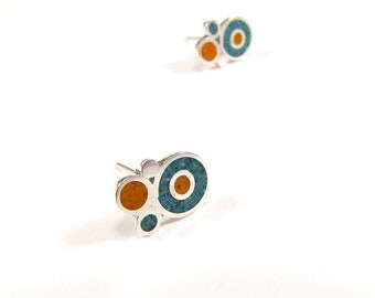Sterling Silver Earrings, Turquoise and Orange, Colorful, Bubbles, Ear Studs, Modern, Contemporary