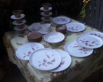 Fabulous 44 Pc Melamine Autumn Leaf 8 Place Settings Dinnerware SALE Was 100. NOW ONLY 50. Brown Orange Rust with Pink Purple in the Leaves