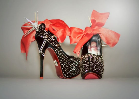 High Heel Platform Spiked Women Shoes Black size 8..Louboutin inspired.. A SpikesByG Design