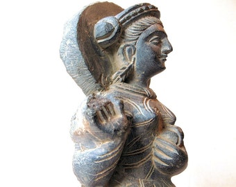 Vintage Stone Sculpture of Buddhist Gandhara Style Maiden Statue from Taxila, Pakistan