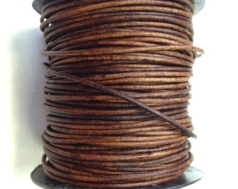 1.5 mm - 164 ft. Genuine leather round cord - Natural Light Brown (50 Meters) AAA Quality