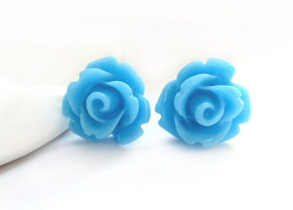 Sky Blue Rose Stud Earrings