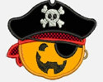 Pumpkin Pirate...Embroidery Applique Design...Three sizes for multiple hoops...Item1399...INSTANT DOWNLOAD
