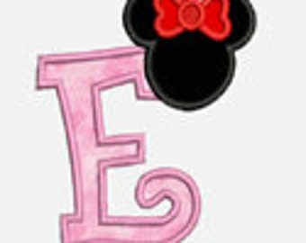 Girly Mouse Ear Alphabet A-Z....Two sizes for multiple hoops...Item1310...INSTANT DOWNLOAD