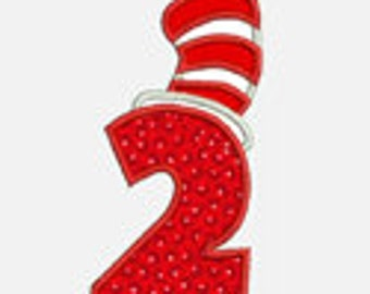 Striped Hat  Numbers 0-9...Embroidery Applique Design...Two sizes for multiple hoops...Item1481...INSTANT DOWNLOAD
