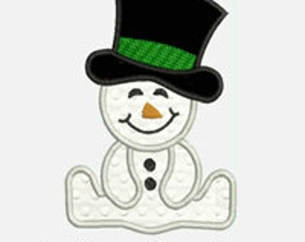 Baby Boy Snowman...Embroidery Applique Design...Three sizes for multiple hoops...Item1365...INSTANT DOWNLOAD