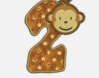 Monkey Boy Numbers 1-9...Embroidery Applique Design...Three sizes for multiple hoops...item1194..INSTANT DOWNLOAD