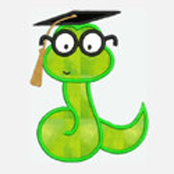 Worm Graduate...Embroidery Applique Design...Three sizes for multiple hoops...Item1067...INSTANT DOWNLOAD