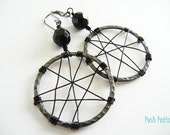 Black Spider Web Earrings, Hoop, Halloween, Goth, Dangle, Black Czech Glass, Gift for Her