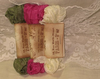 Scrunched Seam Binding ribbon, Hand Crinkled Seam Binding Package  Passion ECS