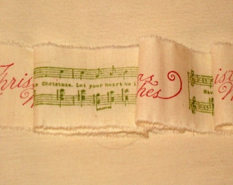 Muslin Christmas Music and Merry Christmas Noel Vintage Hand Stamped Muslin Ribbon ECS