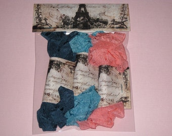 Scrunched Seam Binding ribbon, Crinkled and Dyed Vintage Deep Sea Salmon Seam Binding Packaged ECS