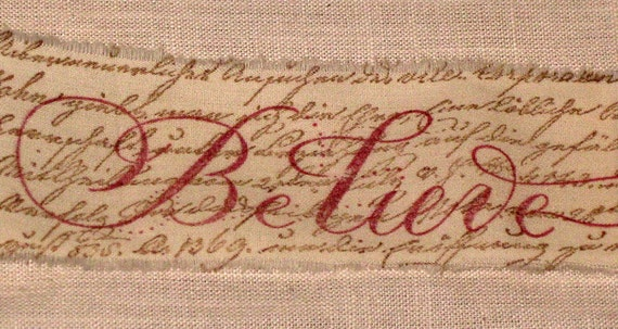 Muslin Christmas BELIEVE with French Script Background Vintage Inspired  Hand Stamped Muslin Ribbon ECS