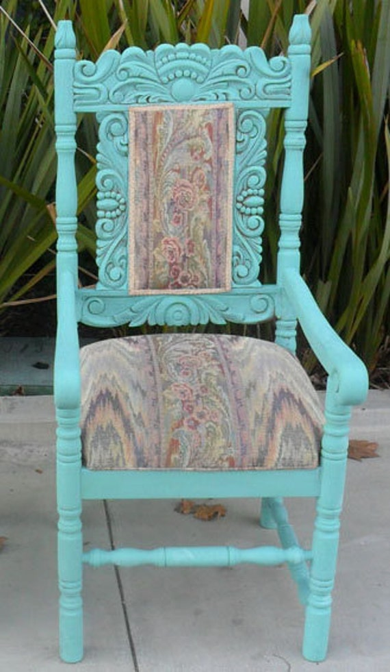 Beautiful Turquoise Ornately Carved Chair