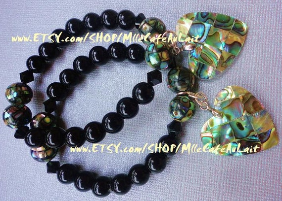 Black Onyx, Swarovski Crystal, Abalone Paua Shell, Heart Charm Bracelet- OCEANS RAINBOW