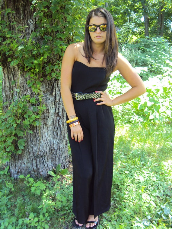 RESERVED for Janelle - vintage 80s Black Jumpsuit S, M - Strapless Jumpsuit Dress - Designer