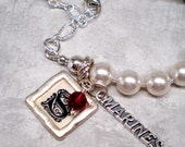 Personalized pearl bracelet or silver necklace MARINES Military name charm wife MOM deployment crystal customized wording