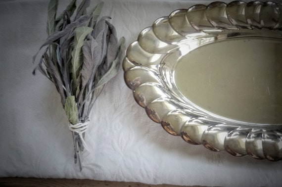 Vintage Wm Rogers Tray, silver plate, from Garden of Simples