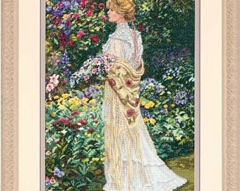 Cross Stitch Kit - IN HER GARDEN - Dimensions Gold Counted Cross Stitch Kit woman floral garden needlework kit garden cross stitch