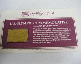 U.S. Olympic Commemorative Equestrian 23-Karat Gold 1980 Stamp Proof-Replica Collectible Olympic Stamp Collection Gold Value Stamp