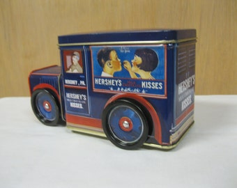 A Kiss For Your VALENTINE Hershey Kisses Delivery Truck Display Toy Collectible Tin Milk Chocolate Canister Tin To Use,  Display or Gift