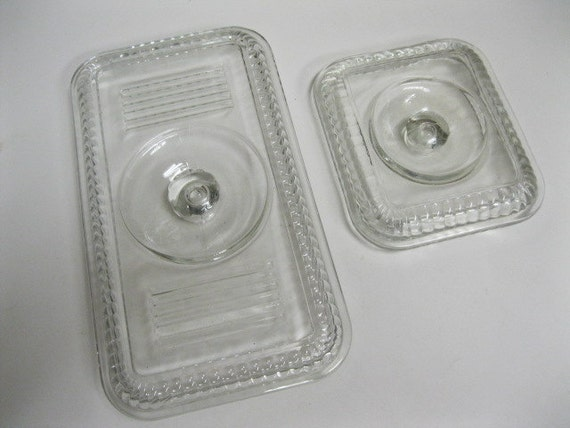 RESERVED ITEM..........Vintage Refrigerator Icebox Dish Clear Glass Lid Replacements - I Have the Lids but Not the Dishes