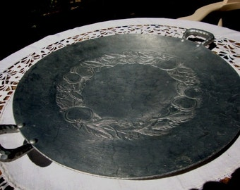 Vintage Very Large Round Hand Forged Metal Platter Tray Bowl Hammerred Serving Fruit Silver Color
