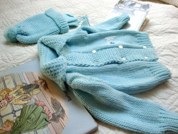 Little Boy Blue Vintage Knitted Infant Set Cardigan Sweater and Hat 1970's Made in Japan