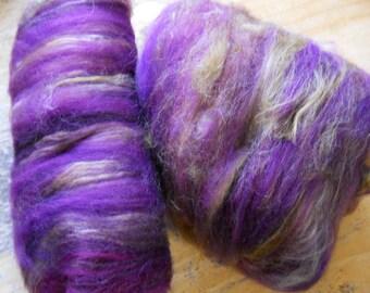 ROYALTY  Purple and Gold Spinning Fiber Art Batts